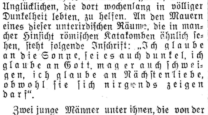 "Image of a German language newspaper column, in blackletter text, that includes the ""I believe in the sun"" quotation."